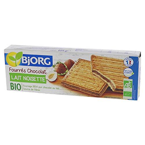 Bjorg Biscuits Fourrés Chocolat au Lait Noisettes - Biscuits Bio – Source de fibres - 225 g