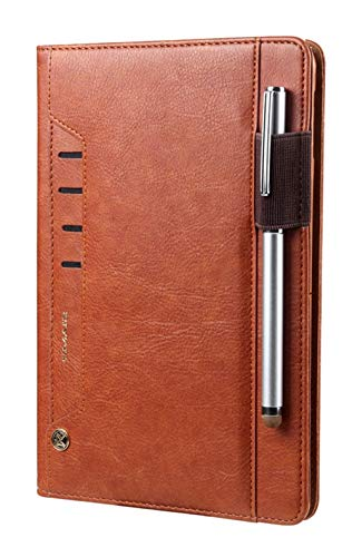 elecfan iPad Pro 10.5 inch Case 2017, with Pencil Holder, Passport Pockets, Card Slots, Luxury Soft PU Leather Business Case, Folio Stand Case Cover for Apple iPad Pro 10.5 inch - Brown