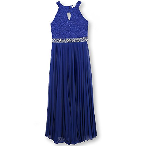Speechless Girls' Full-Length Pleated Party Dress with Neck Cut Out, Cobalt Blue, 7