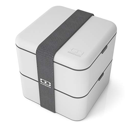 monbento - MB Square bento Box - Large - 2 Tier Leakproof Lunch Box for Work/School Lunch Packing and Meal prep - BPA Free - Food Grade Safe Food containers (Square, Coton)