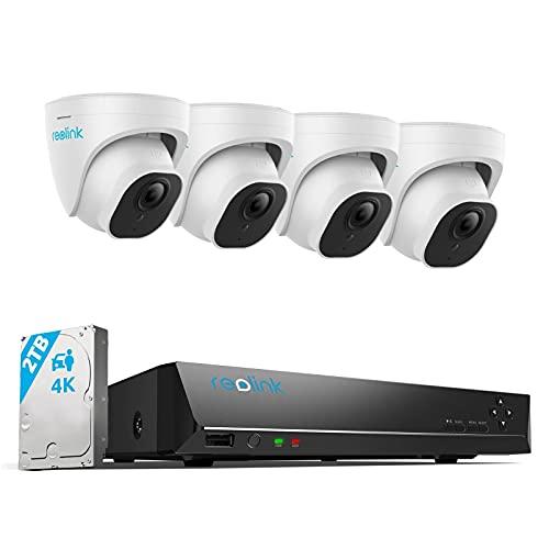 Reolink 4K Kit Videosorveglianza IP Poe, Intelligente Rilevamento di Persone e Veicoli, 8CH 2TB NVR e 4X 8MP Telecamera Esterno Poe Impermeabile, Visione Notturna, Registrazione 24/7, RLK8-820D4-A