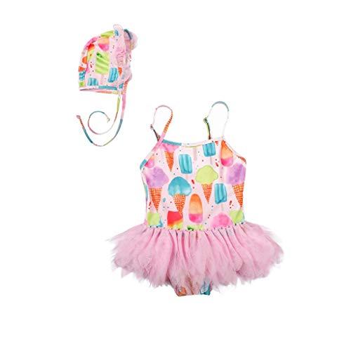 Julhold Traje de baño de una pieza para niñas traje de baño niños helado falda de encaje traje de baño conjunto de gorro de baño traje de baño de verano ropa