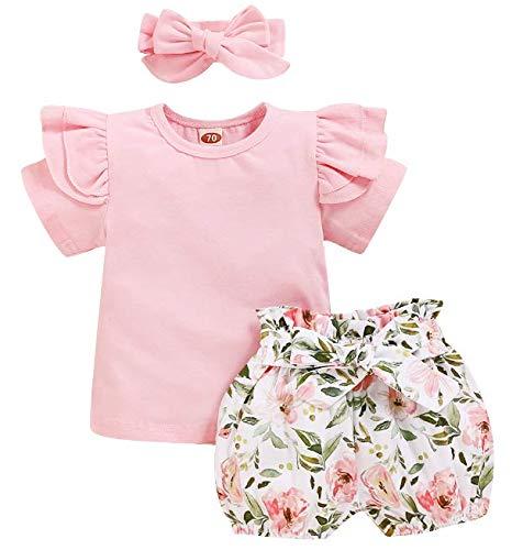 Conjunto de verano para bebé de 3 piezas, color rosa, camiseta de manga corta con volantes + pantalones Bloomers, impresión floral corto + banda con lazo 0-24 meses Rosa 12-24 meses