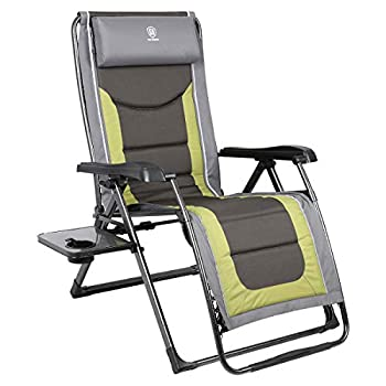EVER ADVANCED Oversize XL Zero Gravity Recliner Padded Patio Lounger Chair with Adjustable Headrest Support 350lbs  Olive Green