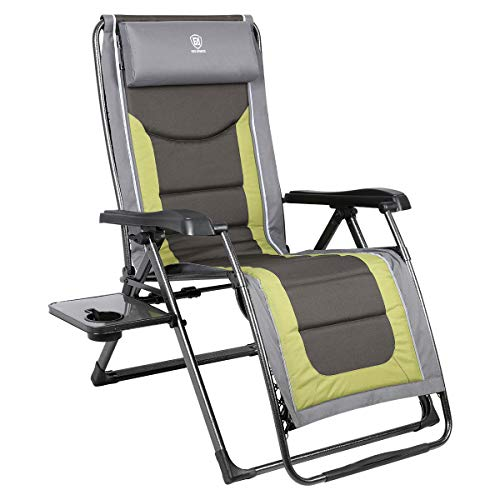 EVER ADVANCED Oversize XL Zero Gravity Recliner Padded Patio Lounger Chair with Adjustable Headrest Support 350lbs (Olive Green)