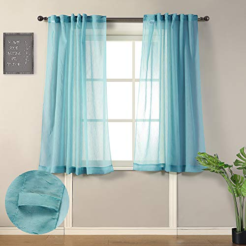 """MYSKY HOME Crushed Voile Sheer Curtains for Living Room Back Tab and Rod Pocket Window Treatment Crinkle Sheer Curtains(2 Panels, 51"""" x 63"""", Teal)"""