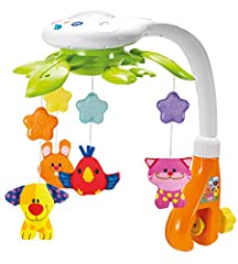 ROTATING MUSICAL MOBILE: Four adorable dream pets dance and twirl to help lull newborn infants to sleep. A yellow puppy, pink kitten, orange bunny rabbit and a happy red bird all gently keep watch at bedtime. Intended for ages newborn to five months....