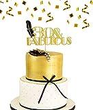 JeVenis 30th Birthday Cake Topper 30 & Fabulous Cake Topper Art-Deco-Cake Topper Schwarze Feder Cake Topper Great Gatsby Cake Decoration -