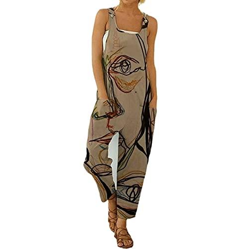 I3CKIZCE Peto Pantalones para Mujer Lino Largo Mono Largo para Mujer Boho Estampados Abstracto Estilo Casual Pantalones Largos Pierna Suelta de Mujer con Correas Bolsillos Laterales (Caqui, L)