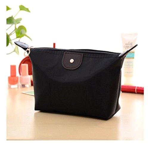 Domire Women Dumpling Shape Nylon Waterproof Zipper Cosmetic Makeup Bag Handbag ,Black by DOMIRE