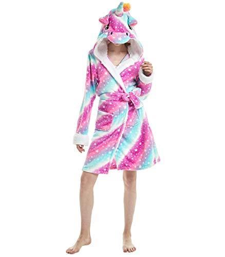 JLTPH Unicornio Albornoz con Capucha Suave de Franela Unisex Novedad Onesie Adultos Pijamas Animal Camisón de Dibujos Animados Bata de Dormir Halloween Navidad Albornoz