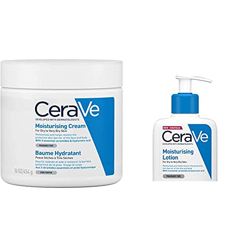 CeraVe Moisturising Cream   454 g/16 oz   Daily Face, Body & Hand Moisturiser & Moisturising Lotion   236ml/8oz   Daily Face & Body Moisturiser for Dry to Very Dry Skin