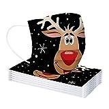 Supertong 10 Stücke Kinder Einweg Mundschutz Mund und Nasenschutz mit Weihnachten Motiv 3 Lagig Atmungsaktive Weihnachtsdruck Mund-Tuch Bandanas Halstuch Schals für Jungen Mädchen (10pc-Kinder-V)