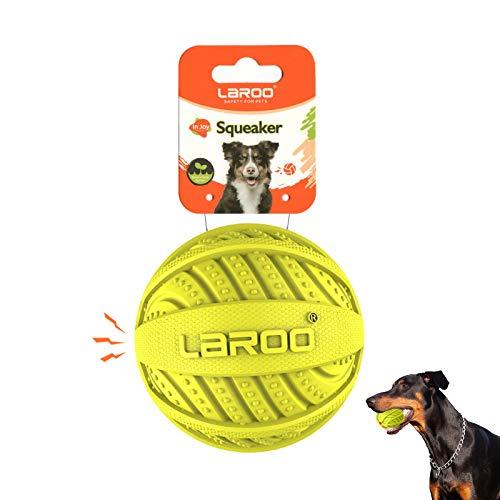LaRoo Juguetes con Sonido para Perros, Juguetes Masticar Pelotas Durable Caucho Natural Interactivo Lanzar Pelota Perro Dientes Limpios Movimiento Reducir la Ansiedad para Mascota (9CM Verde)