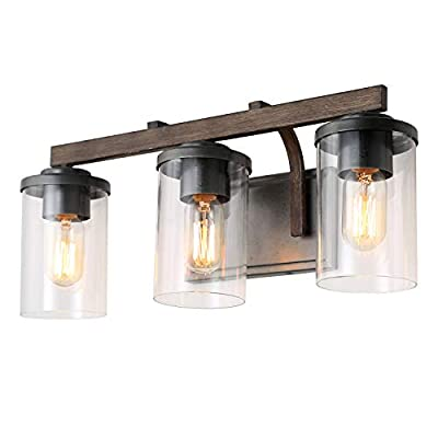 LALUZ 3-Light Rustic Bath Vanity Light Fixture Wall Sconces with Clear Glass Shade