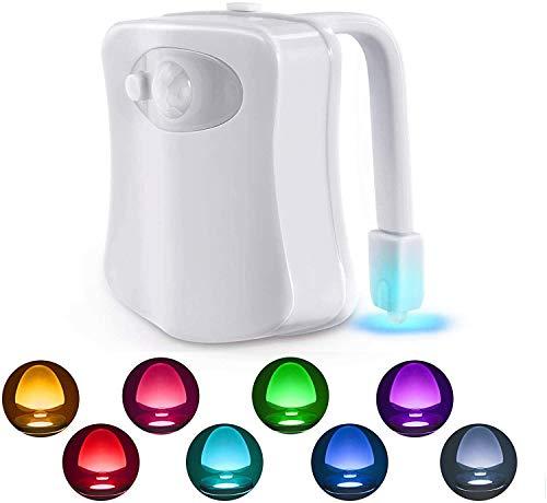WC luz nocturna para inodoro, Luces nocturnas LED con sensor de movimiento, 2 modos con 8 colores que cambian la luz nocturna de la taza del inodoro para el baño, Se adapta a cualquier inodoro