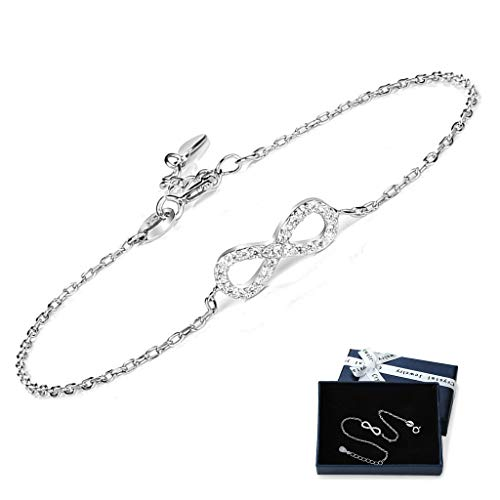 Crazy-m Infinity Armbänder Damen Armband 925 Sterling Silber Funkeln Kubisches Zirkonia Kuss Armband Akzent