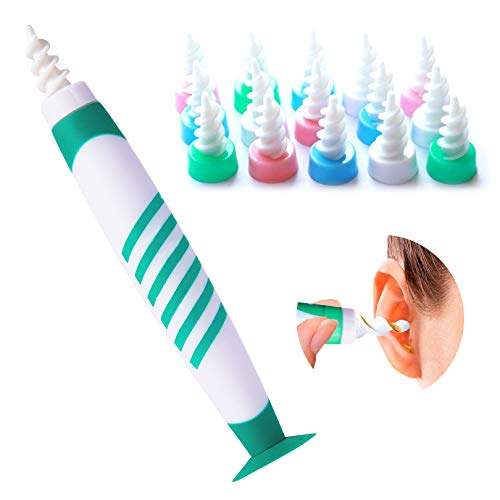 Ohrenschmalz Entferner, Ohrenreiniger mit Saugnapf, Ear Cleaning kit, Intelligentes Spirale Silikon Ohrenschmalz-Entferner Mit 16 Waschbaren Spitzen, Geeignet für Kinder und Erwachsene (12pc) …