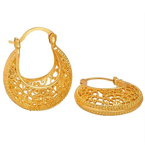 NCDFH Pendientes de Color Dorado para Mujer Joyería Africana Oriente Medio Oro Árabe Regalo de la Madre # J0025