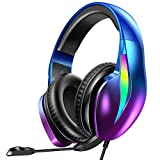 PeohZarr Gaming Headset Xbox One Headset PS4 Headset Aurora Series with Flowing LED Lights 7.1 Surround Sound Crystal Clear Mic Super Comfy Earmuffs, Headset for Xbox One(Adapter Not Included), PS4&PC