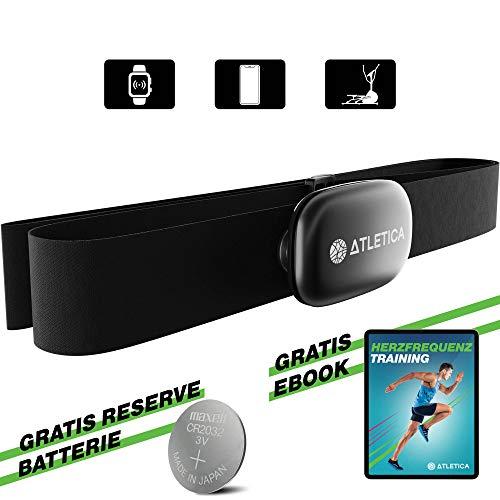Atletica Sport Brustgurt, EKG-genaue Messung von Herzfrequenz, Puls, Kalorienverbrauch. Kompatibel mit Garmin und Polar Uhren sowie zu über 100 Fitness Apps und Cardiogeräte Hersteller, 3J Garantie