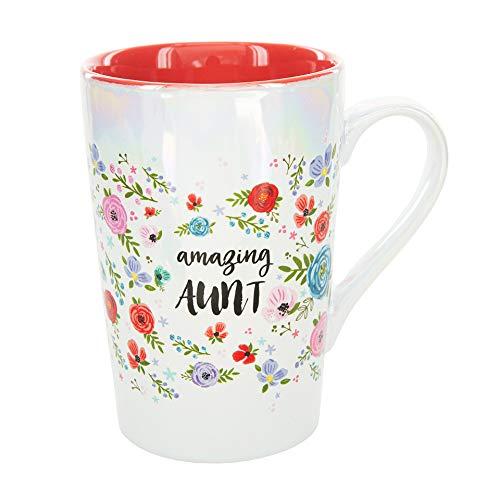 Pavilion Gift Company Amazing Aunt 15 Oz Stoneware Iridescent Floral Latte Coffee Cup Mug, White