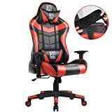 LC POWER Gaming Chair with Armrest Pads,Ergonomic Racing Style Computer Desk Chair Office Chair Lumbar Support with Backrest and Seat Height Adjustment for Women,Men(Red) LC POWER