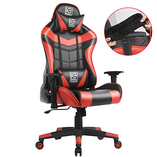 LC POWER Gaming Chair with Armrest Pads,Ergonomic Racing Style Computer Desk Chair Office Chair Lumbar Support with Backrest and Seat Height Adjustment for Women,Men(Red) LC POWER big chair gaming tall