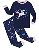 Little Girls Pajamas 100% Cotton Long Sleeve Pjs Toddler Clothes Unicorn Kids Sleepwear Shirts Size 7 Blue