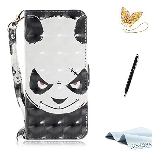 TOUCASA Huawei P20 Handyhülle,Huawei P20 Hülle, Brieftasche flip PU Leder ledercaseHülle Kartenfächer [3D Glitter Surface] Hidden Magnetic Closure [Life Time Warranty] fürHuawei P20-(Panda)