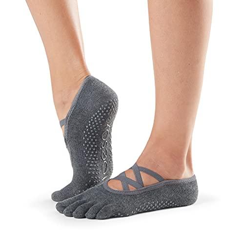 Toesox Calcetines unisex puntera completa Elle Yoga & Pilates Grip, Unisex, calcetines con agarre para Yoga y Pilates, YTOEWTELLEGREY-M, Gris oscuro, Medium