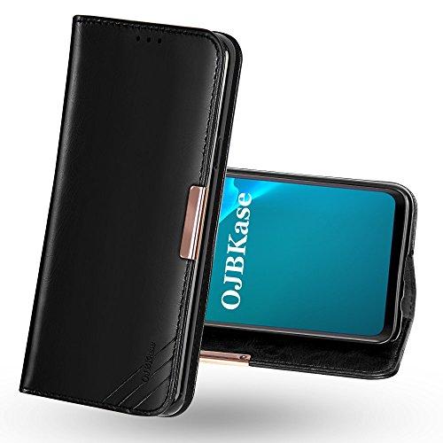 OJBKase Funda Galaxy S9 Plus, Carcasa Piel de Cuero Genuino con Tapa [Tarjetas de Crédito],Funda Libro de Cuero Genuino Premium diseñada para Samsung Galaxy S9 Plus (Negro)