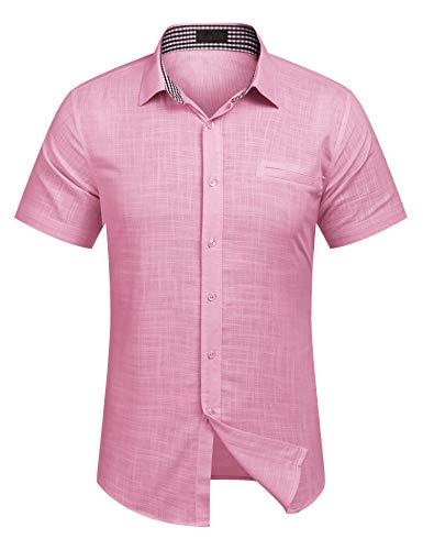 Burlady Herren Hemd Kurzarm Langarm Leinenhemd aus Baumwollmischung Kariert Sommer Freizeit Men´s Shirt (XXL, Rose)