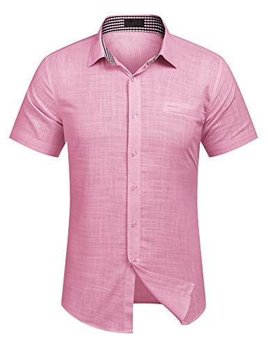 COOFANDY Herren Hemd Kurzarm Langarm Leinenhemd aus Baumwollmischung Kariert Sommer Freizeit Men´s Shirt (XL, Rose)