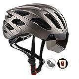 KINGLEAD Casque de vélo avec visière pour la lumière et Shield, certifié CE Unisexe protégé pour vélo d'équitation Sports de Plein air de sécurité Superlight réglable Casque vélo Titane