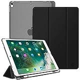 Fintie Funda para iPad Air 10.5' (3.ª Gen) 2019/iPad Pro 10.5' 2017 con Soporte Integrado para Pencil - Trasera Transparente Mate Carcasa Ligera con Auto-Reposo/Activación, Negro