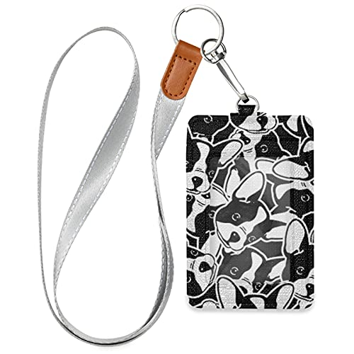 OTVEE French Bulldog Head Badge Holder, PU Leather ID Card Case Wallet with Neck Lanyard and Key Ring
