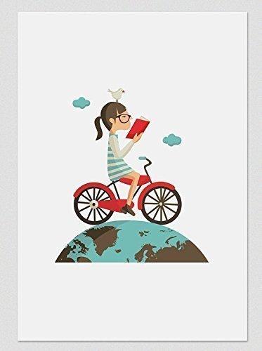 Leer en bicicleta. Ilustración, print, lámina (disponible medidas A4 / A3): Amazon.es: Handmade