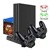 FCXJTU PS4/ PS4 Slim/ PS4 Pro Cooler Cooling Fan, [Latest Upgraded] Multifunctional Vertical Cooling Stand and Dualshock Controller Charge Station with LED Indicators & 10PCS Games Storage for PS4