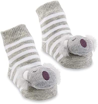 Mud Pie Koala Rattle Toe Socks Grey White 0 12M product image
