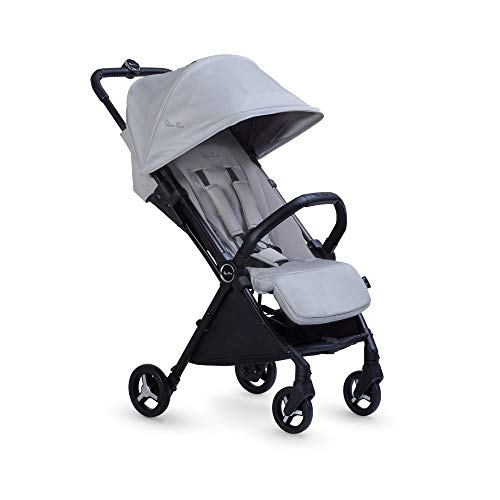 Silver Cross Jet Black Travel Stroller, Lightweight and Cabin Approved Pushchair - Silver