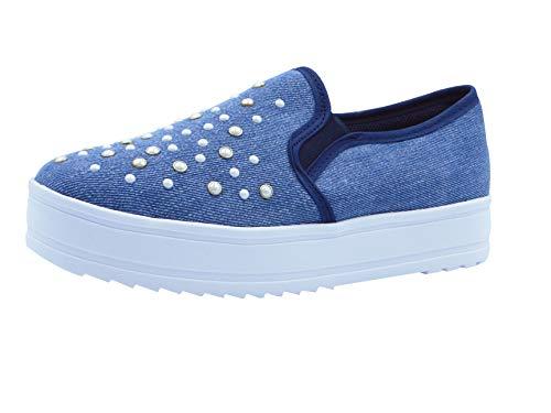 JUMEIRA Tenis para Mujer Color Azul de Material Textil Mezclilla Talla 23