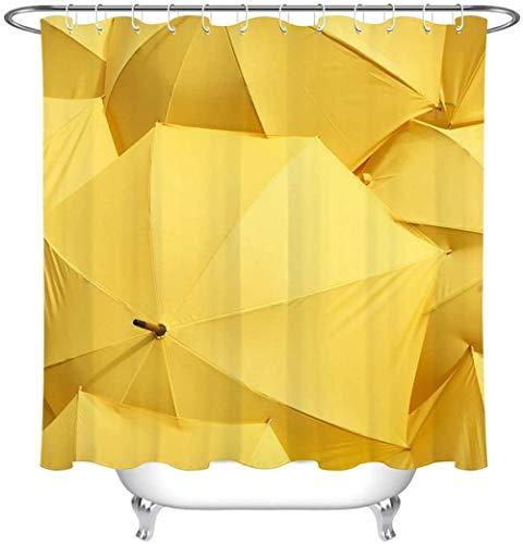 Douchegordijn Geel Paraplu Polyester Stof Waterdicht en Meeldauw 3D Hd Printen Huisdecoratie 180x 200cm 12 Haken