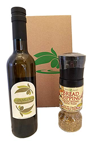 Bread Dipping Party Set of Roasted Garlic Infused Organic Extra Virgin Olive Oil 375ml and Bread Dipping Seasoning in adjustable grinder, 3.2oz, - enjoy this gourmet oil bread dipping gift kit