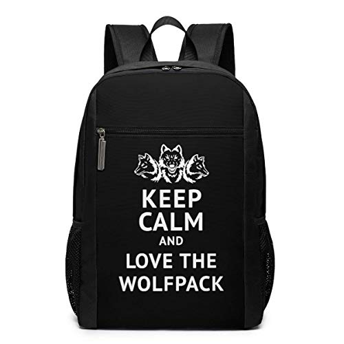 Mochila de Viaje de Mochila Escolar, Keep Calm and Love The Wolfpack Backpacks Travel School Large Bags Shoulder Laptop Bag For Men Women Kids