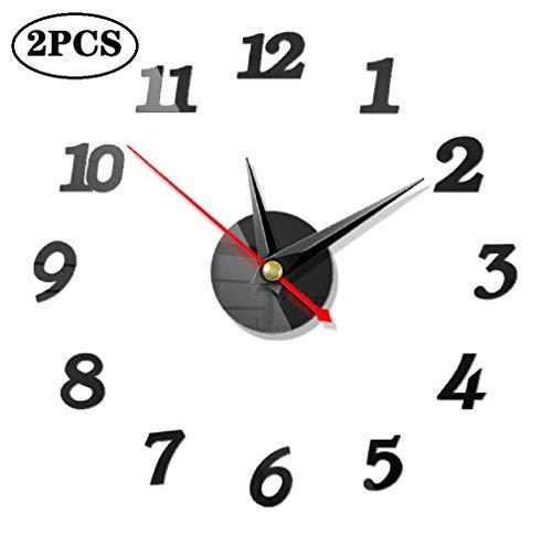 DIY Reloj de Pared, 2 Piezas 3D Relojes de Pared Espejo Pegatina DIY Frameless Gran Reloj de Pared Números Romanos para Decorar la Oficina Casa
