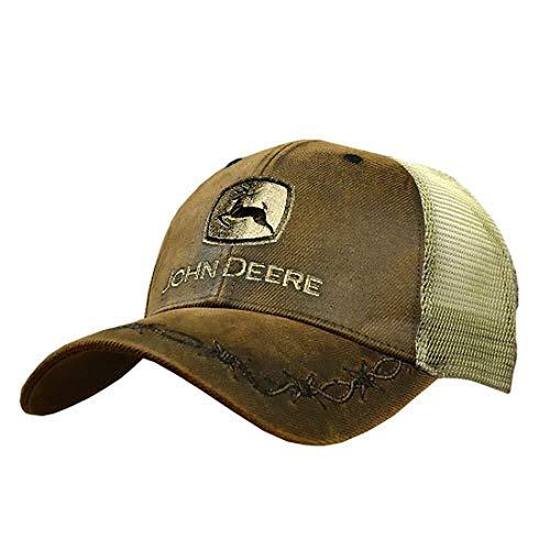 John Deere Mens Oilskin Khaki Mesh Back Embroidered Hat