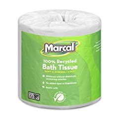 Marcal Toilet Paper - 100% Recycled Bath Tissue Rolls - Septic Safe - Green Seal Certified 2-Ply White Toilet Paper, 336 Bath Tissue Sheets per Roll, 48 Rolls per Case Whitened without chemicals containing Chlorine Bleach, Dyes, and Fragrances. Virtu...