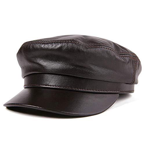 WEIZI Sombrero de Marinero para Mujer, Gorras de Panadero de Cuero Genuino marrón para Hombre, Gorra Militar Unisex de Piel de Oveja Natural para otoño e Invierno