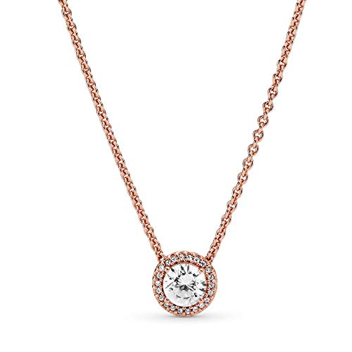 Pandora Jewelry - Round Sparkle Halo Necklace in Pandora Rose with Clear Cubic Zirconia, 17.7 IN / 45 CM